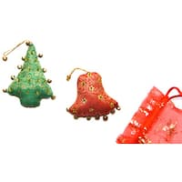 Set of 2 Handmade Christmas Ornaments (India)