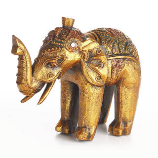 Handmade Exotic Gold Elephant Statuette (Indonesia)