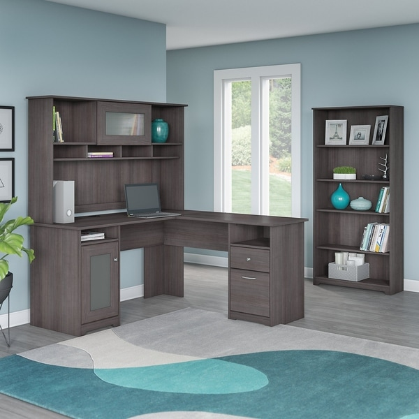 Cabot L Shaped Desk with Hutch and 5 Shelf Bookcase in Heather Gray