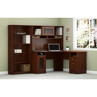Copper Grove Daintree L-shaped Desk with Hutch and 5-shelf Bookcase in Heather Gray (Cherry Finish - Cherry)