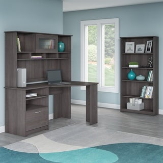 Bush Furniture Cabot Corner Desk with Hutch and 5 Shelf Bookcase