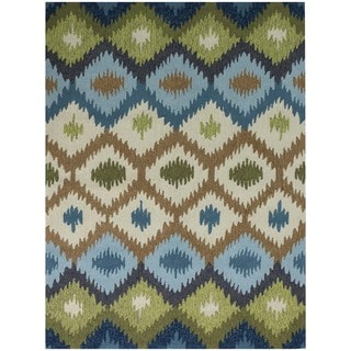 San Mateo Blue/ Green Chevron Multi-purpose Indoor/ Outdoor Area Rug (7'6 x 9'6)