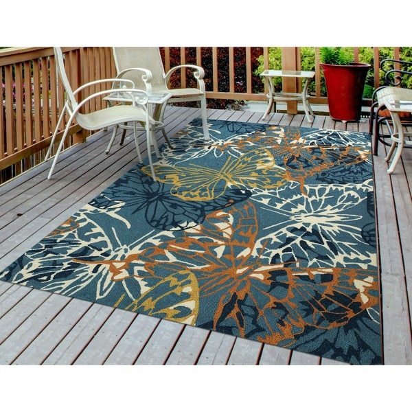"""San Mateo Blue Butterfly Multi-purpose Indoor/ Outdoor Area Rug (7' x 6') - 5' x 7'6"""""""