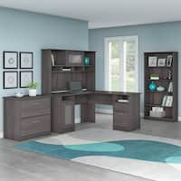 Bush Furniture Cabot L Shaped Desk with Hutch, Lateral File Cabinet and 5 Shelf Bookcase in Heather Gray