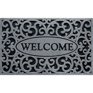 Welcome Iron Grey Rubber Outdoor Doormat (18 x 30)