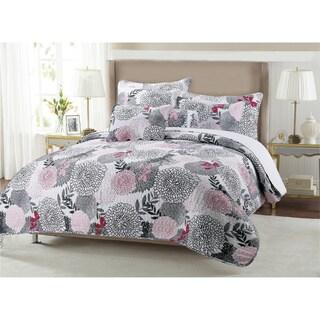Trista Floral Cotton 3-piece Quilt Set
