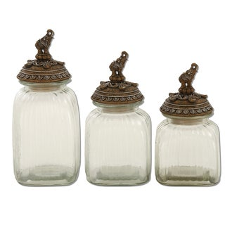 Elephant Glass Canister Set - (Set of 3)