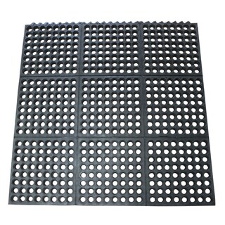 Rubber-Cal 03-126-INT-WBK Dura-Chef Commercial Interlock Anti-Fatigue Rubber Matting,