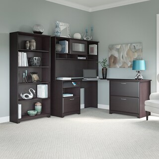 Bush Furniture Cabot Corner Desk Office Suite in Heather Gray (3 options available)