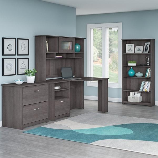 Bush Furniture Cabot Corner Desk Office Suite In Heather Gray