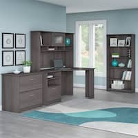 Bush Furniture Cabot Corner Desk Office Suite in Heather Gray