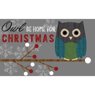 indoor outdoor owl be home x mas doormat 18 x 30 - Outdoor Owl Christmas Decorations