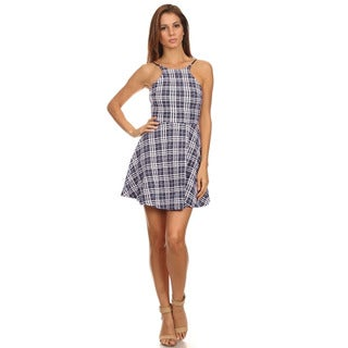 MOA Collection Women's Plaid Racerfront Mini Dress with Open Back