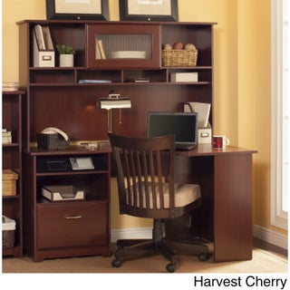 Cabot Corner Desk with Hutch (Option: Cherry Finish - Cherry)