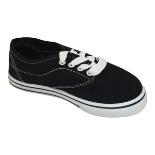 Boy's and Girl's Lace Up Contrast Sneakers Black/ White