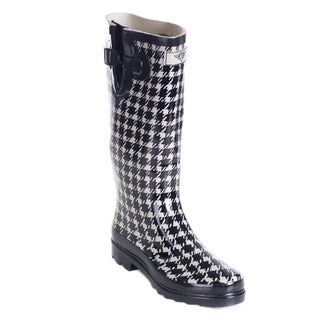 Women's Full Rubber Houndstooth Rain Boots