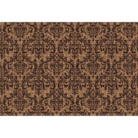 Brown Rubber/Synthetic Fiber Damask Indoor/Outdoor Doormat (2' x 3')