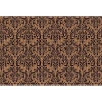 Brown Rubber/Synthetic Fiber Damask Indoor/Outdoor Doormat (2' x 3')