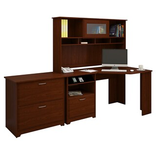 Cabot Corner Desk with Hutch and Lateral File Cabinet in Cherry (3 options available)