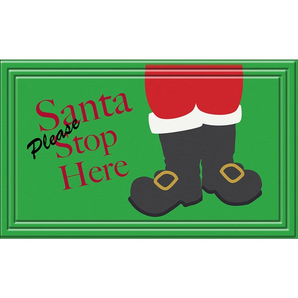 Indoor/ Outdoor Santa Stops Here Doormat (18 x 30)