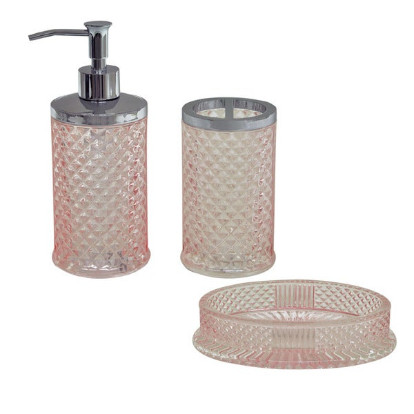 Jessica simpson diamond cut pink 3 piece bath accessory for Pink bathroom accessories sets