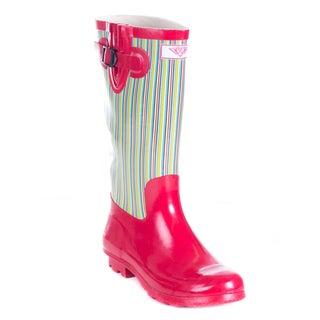 Women's Full Rubber Retro Stripes Red Rain Boots