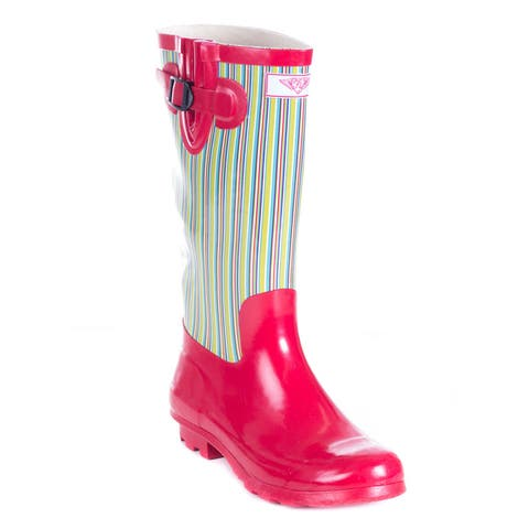 Womens Full Rubber Retro Stripes Red Rain Boots by