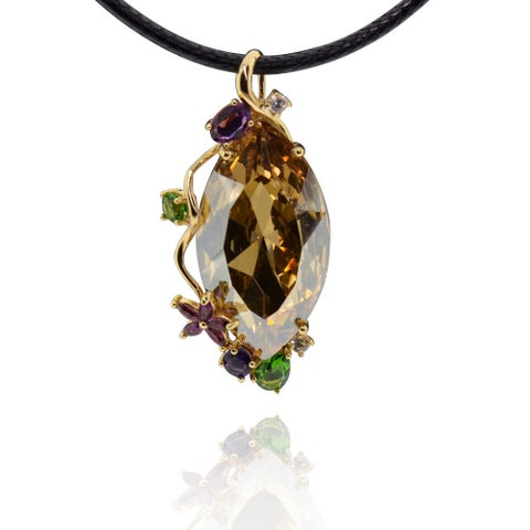 Sterling Silver Gold Plated Austrian Crystal Necklace with 20-inch Leather Cord and 3-inch Extension