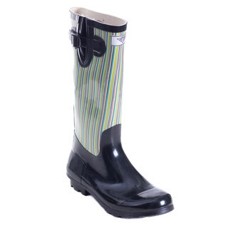 Women's Full Rubber Retro Stripes Black Rain Boots