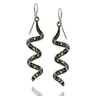 Sterling Silver Round Marcasite Swirl Earrings