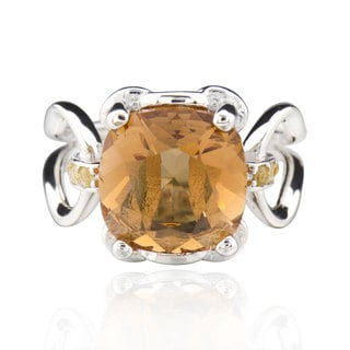 Sterling Silver Square Cushion Genuine Austrian Crystal Elements Ring