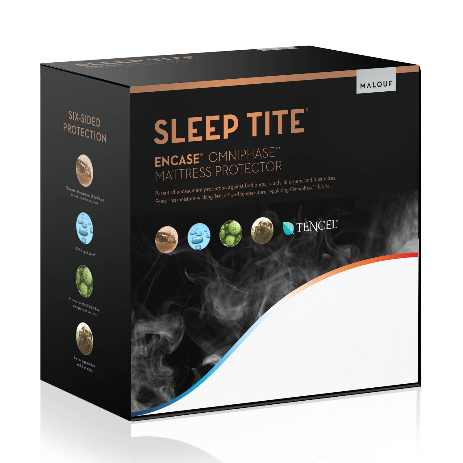 Malouf Sleep Tite Encase Omniphase Cooling Mattress Protector (Full XL), White, Size Full XL (Cotton)