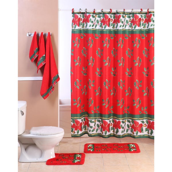 18 Piece Holiday Bathroom Shower Curtain Set Christmas Mistletoe Free Shipping Today