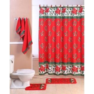 18-piece Holiday Bathroom Shower Curtain Set - Christmas Mistletoe