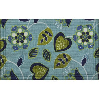 Indoor/ Outdoor Floral Vine Blue Doormat (18 x 30)