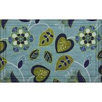 Indoor/ Outdoor Floral Vine Blue Doormat (18 x 30)