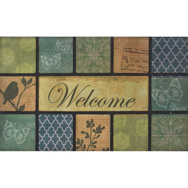 Outdoor Floral Blocks Modern Doormat (18 x 30)