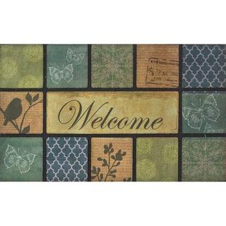 Outdoor Floral Blocks Modern Doormat (18 x 30)