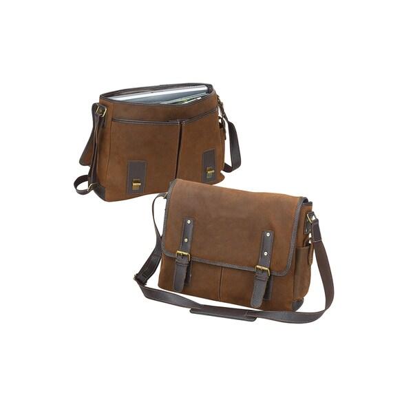 Bellino Vintage 17-inch Laptop Leather Flapover Messenger ...