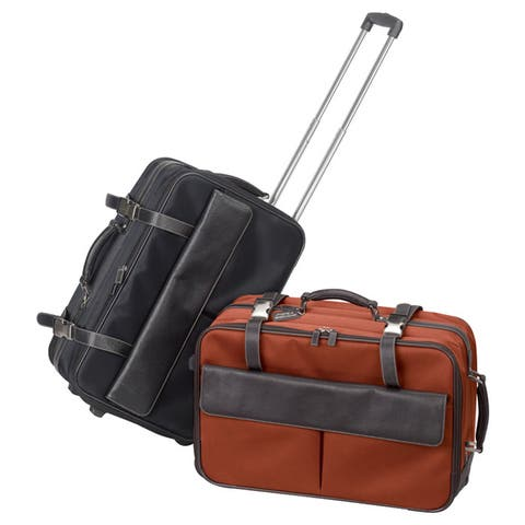"Bellino Lawyer Executive Leather Rolling 17-inch Laptop Carry-On Briefcase - 21"" x 13"" x 10"""