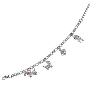 Silver Plated 7 Inch Crystal Quirky Charm Bracelet
