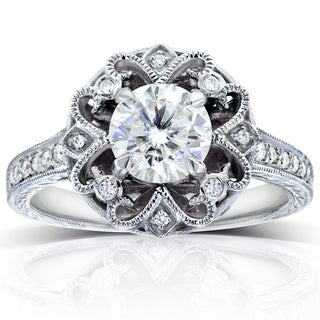 Annello by Kobelli 14k White Gold 1 1/5ct TGW Forever One Moissanite and Diamond Antique Floral Extravagant Engagement Ring
