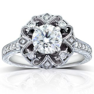 Annello 14k White Gold 1ct Forever One Moissanite and 1/5ct TDW Diamond Antique Floral Engagement Ring (G-H, I1-I2)