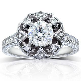 annello by kobelli 14k white gold 1 15ct tgw forever one def moissanite and - Nature Inspired Wedding Rings