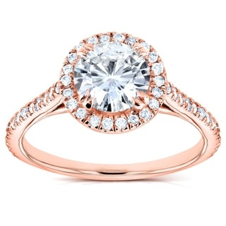 Annello by Kobelli 14k White Gold 1 1/4ct TGW Forever One DEF Moissanite and Diamond Round Halo Classic Engagement Ring