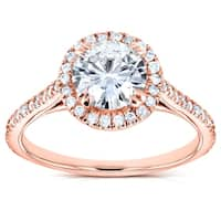 Annello by Kobelli 14k Gold 1 1/4ct TGW Forever One DEF Moissanite and Diamond Round Halo Classic Engagement Ring