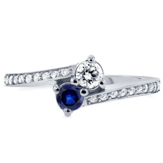 Annello by Kobelli Two 14k White Gold Blue Sapphire and 1/3ct TDW Diamond Two-Stone Ring