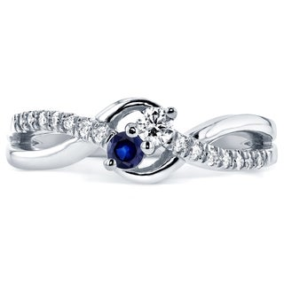Annello by Kobelli Two Collection 14k White Gold Blue Sapphire and 1/6ct TDW Diamond 2-stone Ring