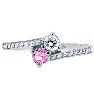 Annello by Kobelli Two 14k White Gold Pink Sapphire and 1/3ct TDW Diamond Two-Stone Ring