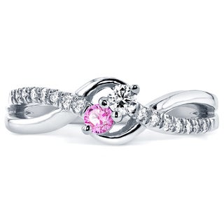 Annello Two Collection 14k White Gold Pink Sapphire and 1/6ct TDW Diamond 2-stone Ring (G-H, I1-I2)